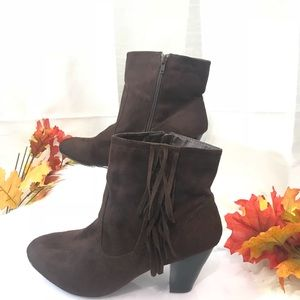 Cato Brown suede fringed Ankle boots size 11